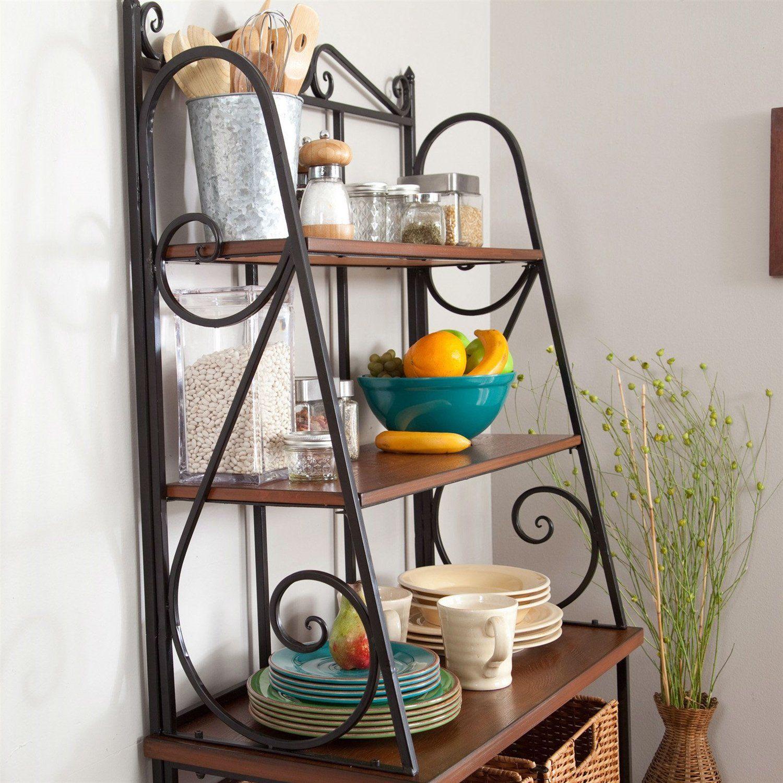 Huntington Beach Bakers Rack Wicker Baskets Wood Shelves