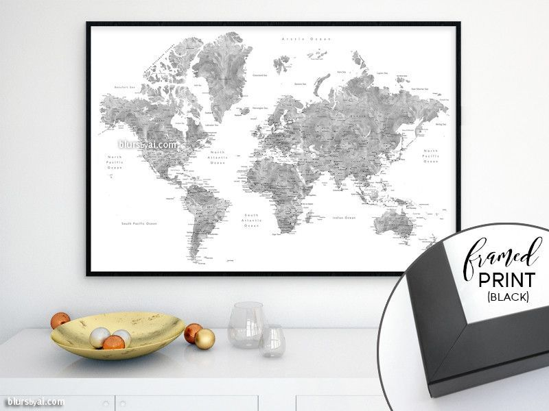 36x24 framed world map print grayscale watercolor world map with framed world map print gold foil effect world map with cities framed world map print with capitals and main cities travel lover idea you can display the gumiabroncs Choice Image