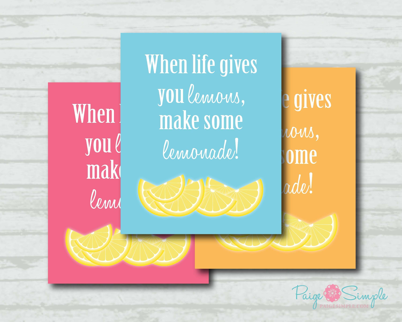 Free Printable 8x10 When Life Gives You Lemons Sign Via