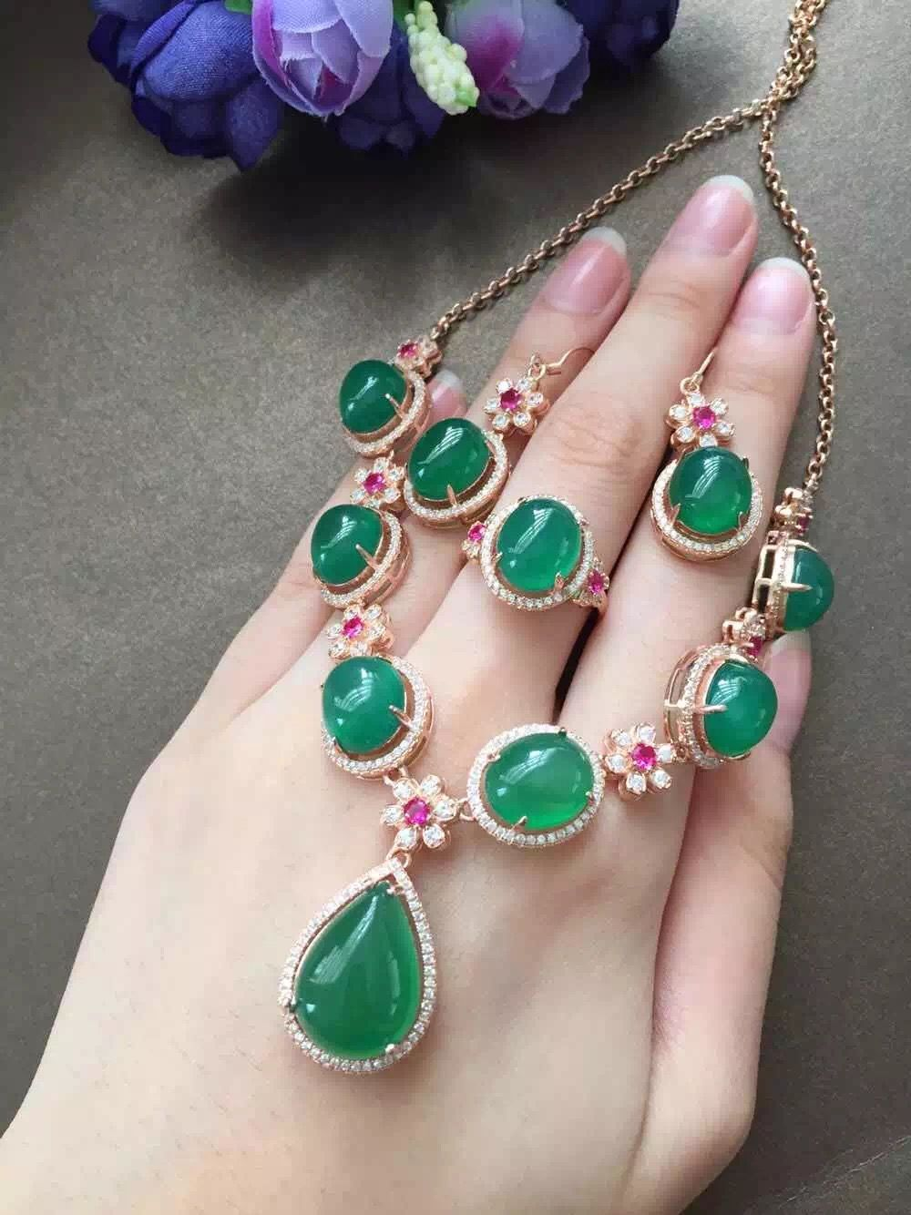 bracelet and earrings set Silver and green chalcedony necklace