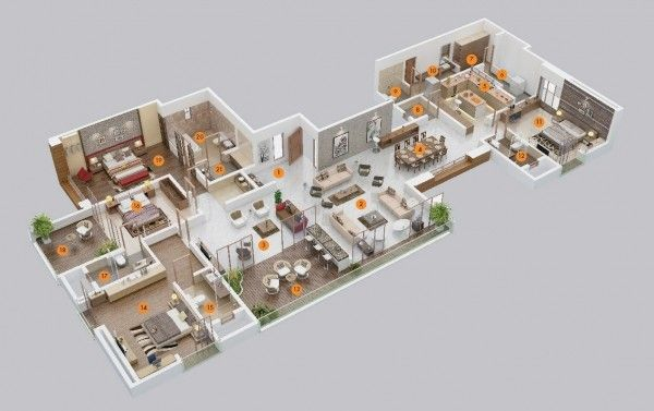Pin By Narth On H Me 5 Bedroom House Plans 3d House Plans Apartment Floor Plans