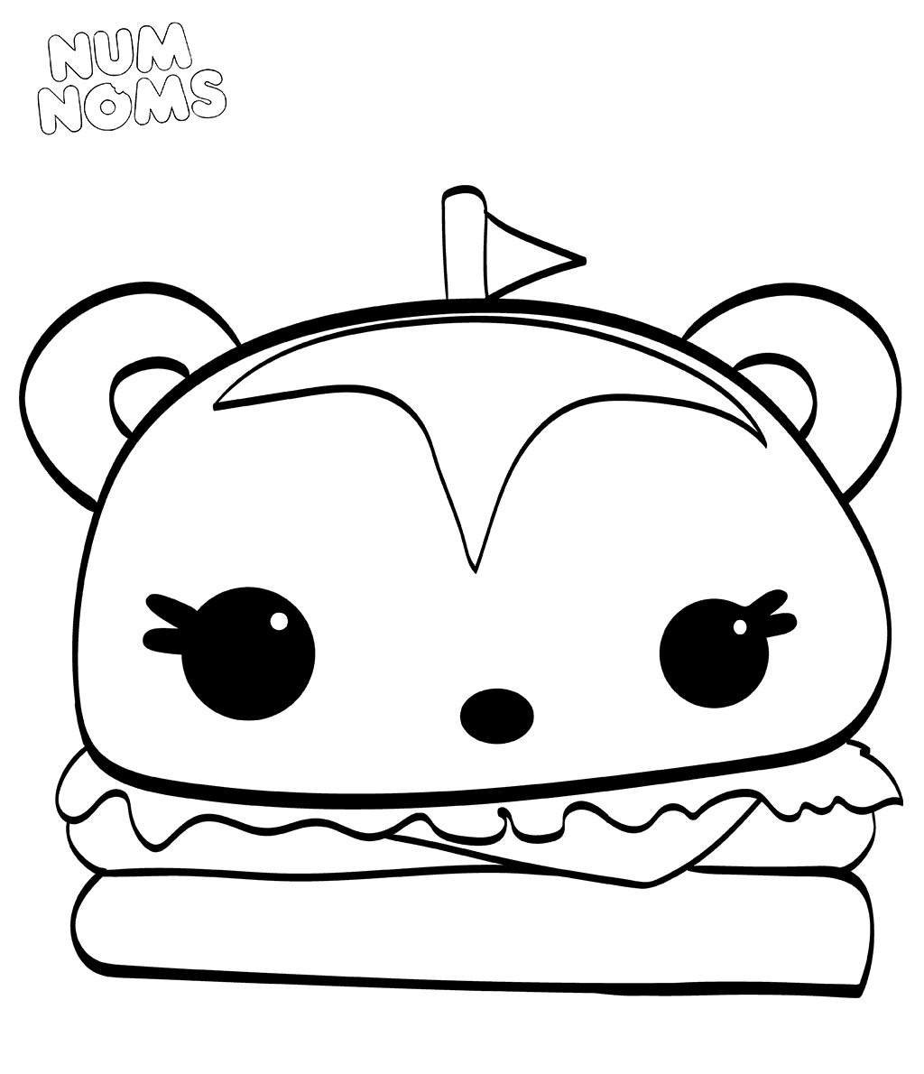 Hammy Burger From Num Noms Coloring Sheets Cartoon Coloring Pages Coloring Pages Cute Coloring Pages