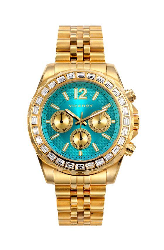 418cd0c70 Reloj Viceroy Femme Verde Agua 432252-15 dorado mujer | clock women ...