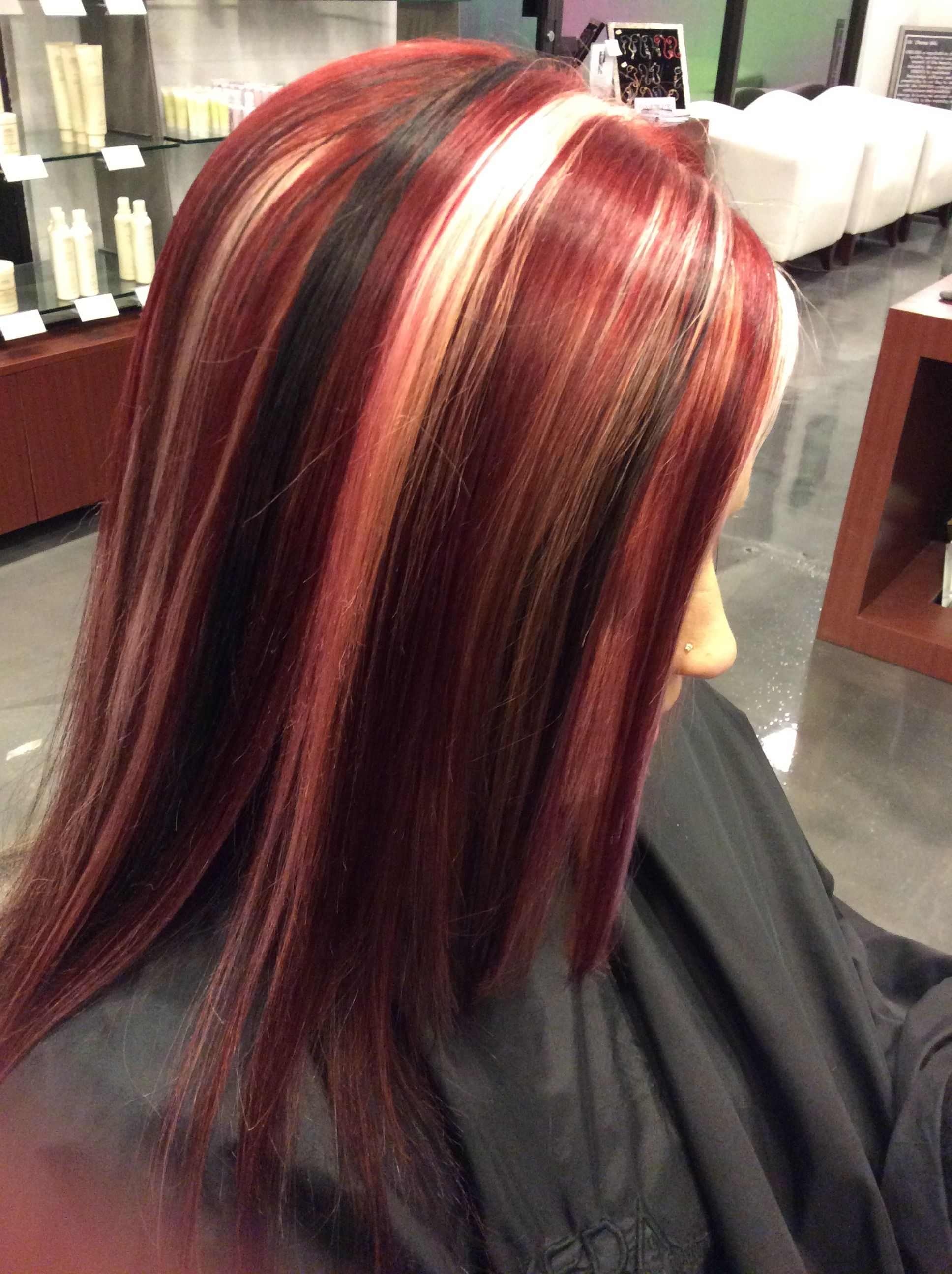 Chunky Bold Red Blonde And Black Highlights By Kim Pretty Hair Color Spring Hair Color Curly Hair Styles