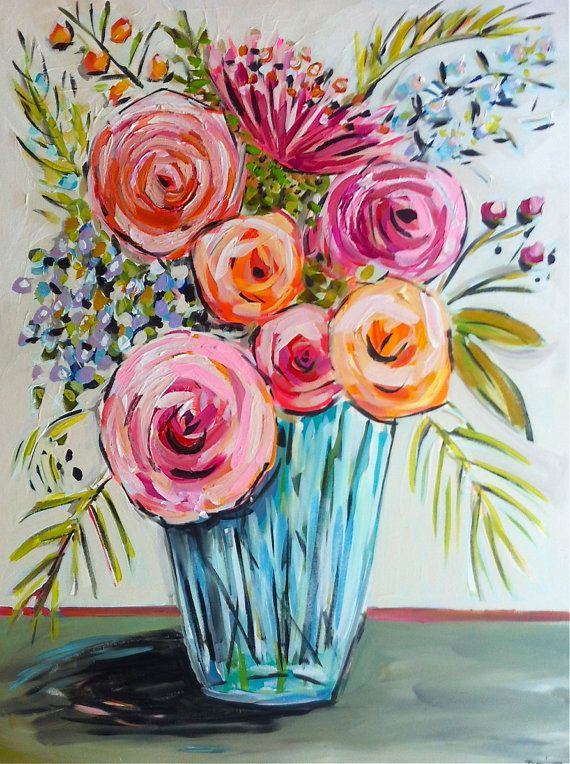 Abstract roses flowers large peony still life by for Floral painting ideas