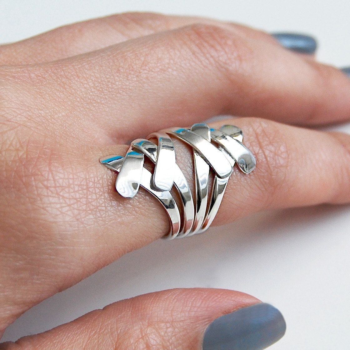 Chunky Silver Ring, Wire Ring, Overlapping Ring, Flat Wire Ring ...