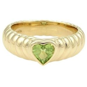 Pre-owned Tiffany & Co. 18k Yellow Gold & Peridot Heart Ribbed Design Ring