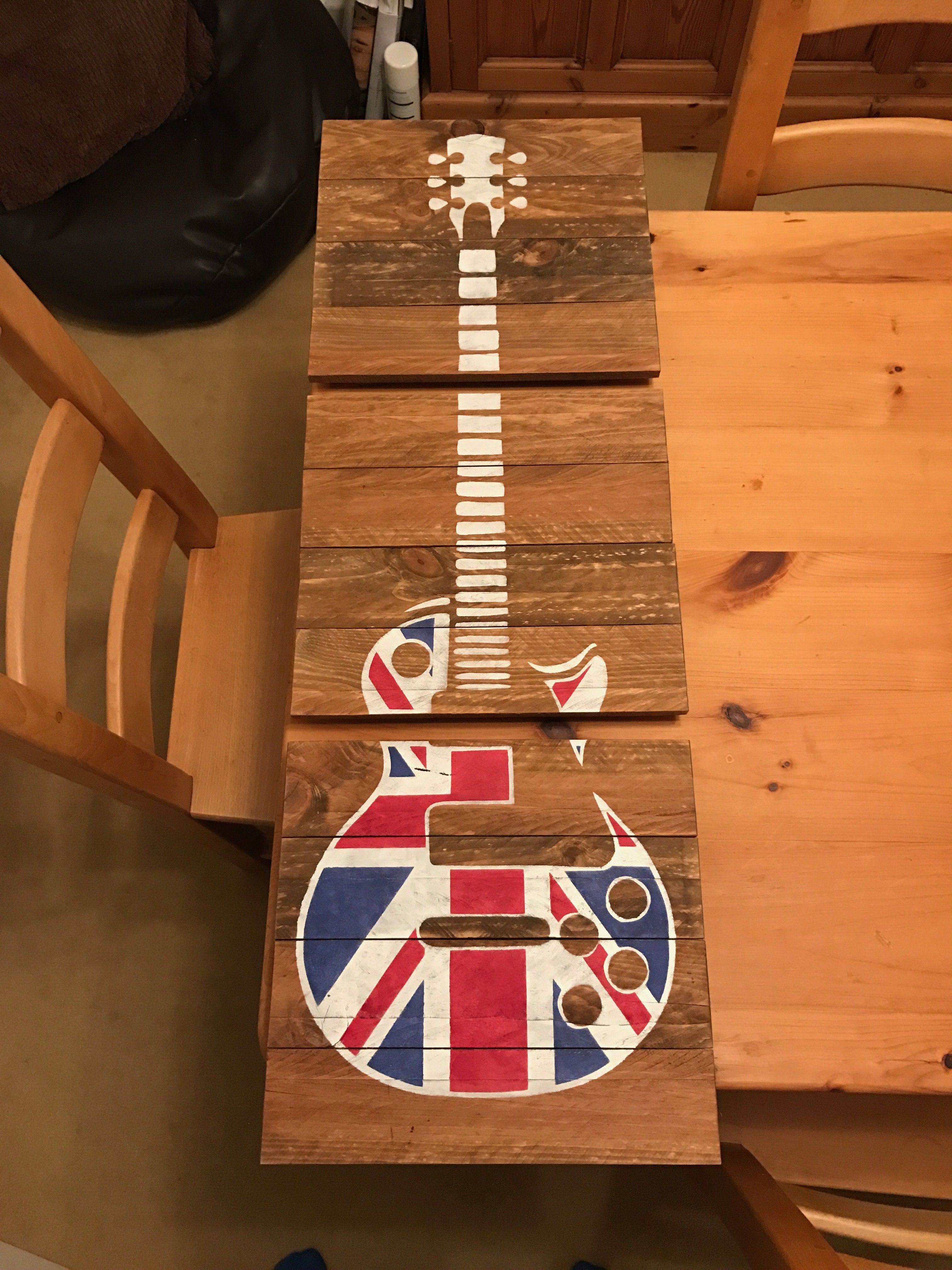 3 Pieces Wall Decor For Living Room: Union Jack 3 Piece Guitar Wall Art. Pretty Much Full Size