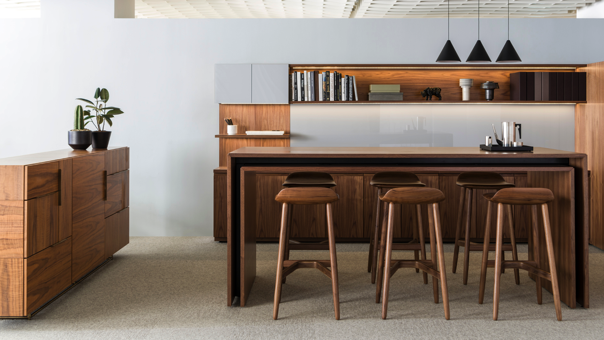 Crosshatch Stools, Peer Table And Domino Credenza By Geiger Furniture.