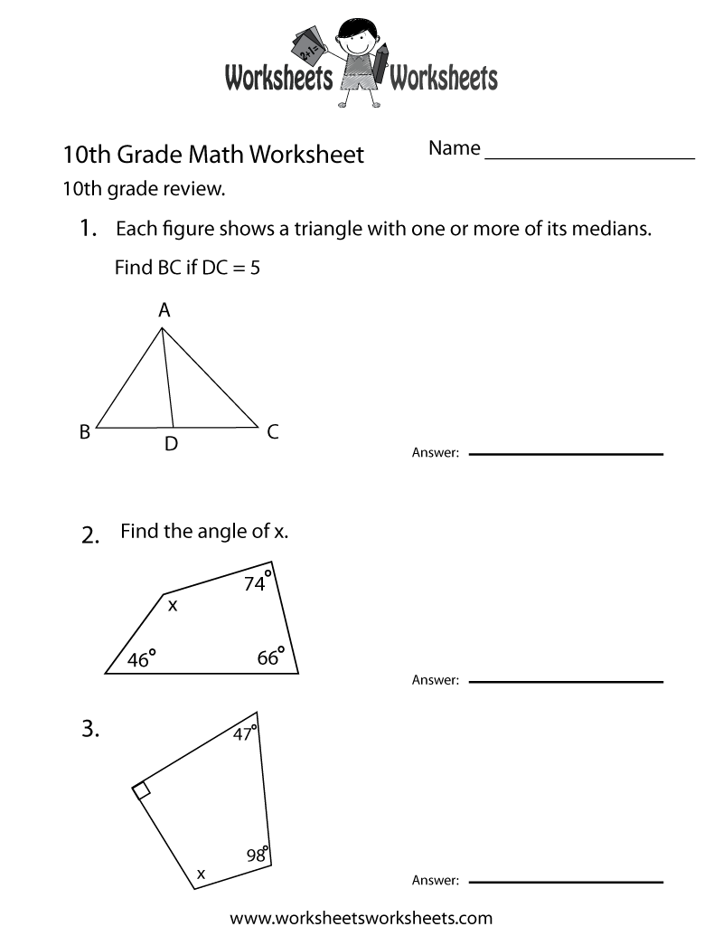 hight resolution of 10th Grade Math Review Worksheet - Free Printable Educational Worksheet   10th  grade math