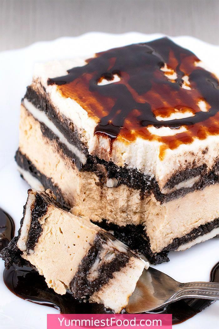 This easy No Bake Salted Caramel Oreo Icebox Cake recipe includes coffee, salted caramel, cream cheese, and delicious Oreo cookies. It's an impressive old fashioned style sweet that can be knocked up very quickly and is an absolutely amazing summer dessert for a crowd!