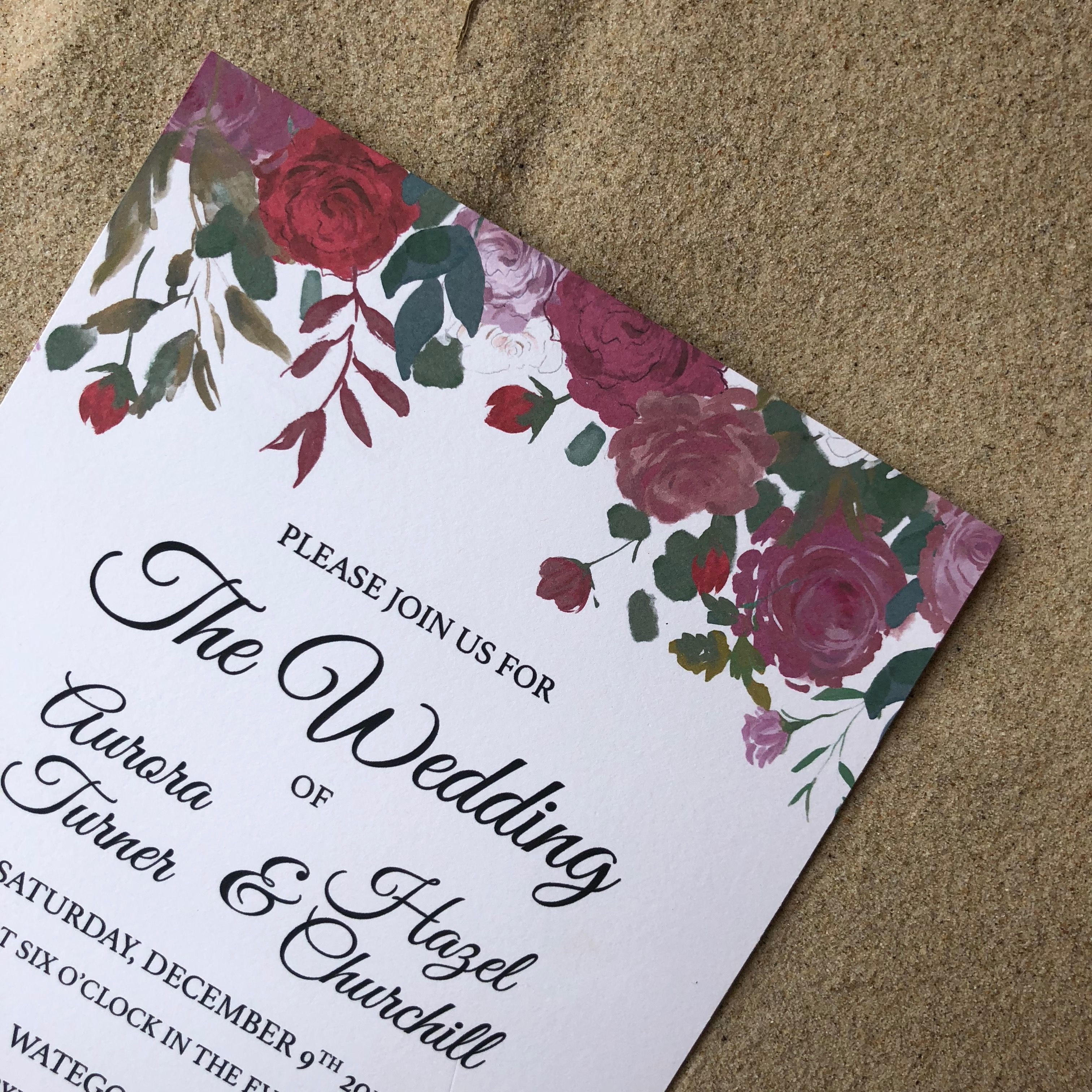 Our Ruby Roses Wedding Invitation is the