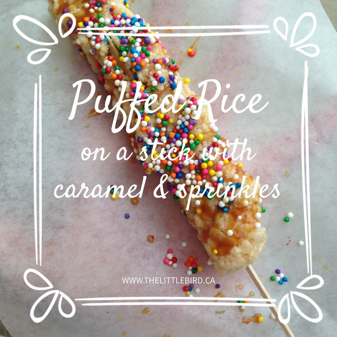 Puffed rice on a stick covered with caramel and sprinkles: for kids or for kids at heart. Come down to Taste of Saskatchewan and get one today!
