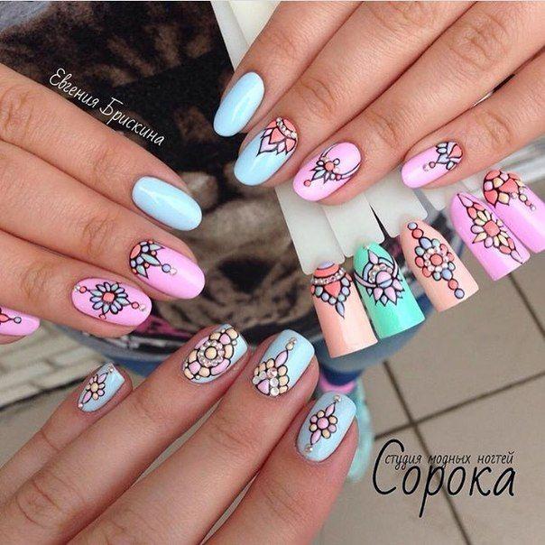 mandalas nail art colorful postizas | nail designs | Pinterest ...
