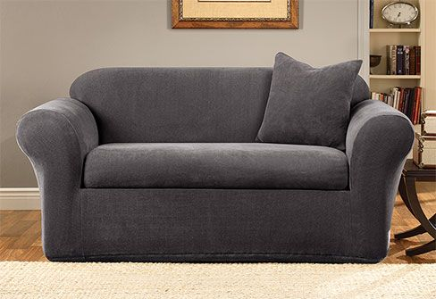 Stretch Metro Two Piece Loveseat Slipcover Form Fit Machine Washable Loveseat Slipcovers Slipcovers Love Seat