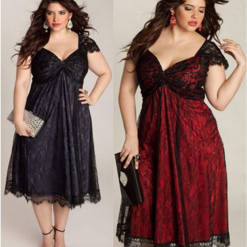 5756ec63b43  2.99 - Women V Neck Plus Size Evening Lace Ball Gown Cocktail Party Long  Midi Dress  ebay  Fashion