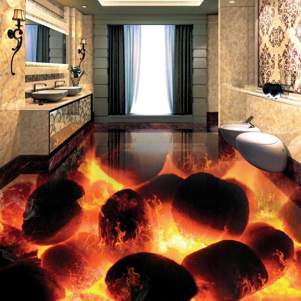 Custom 3d flooring murals 3d stereo stones flame bedroom for Custom mural cost