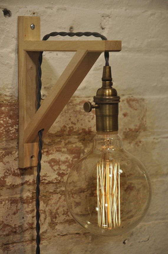 Beautiful Birch Wood Wall Sconce With Gray Cord This Wall