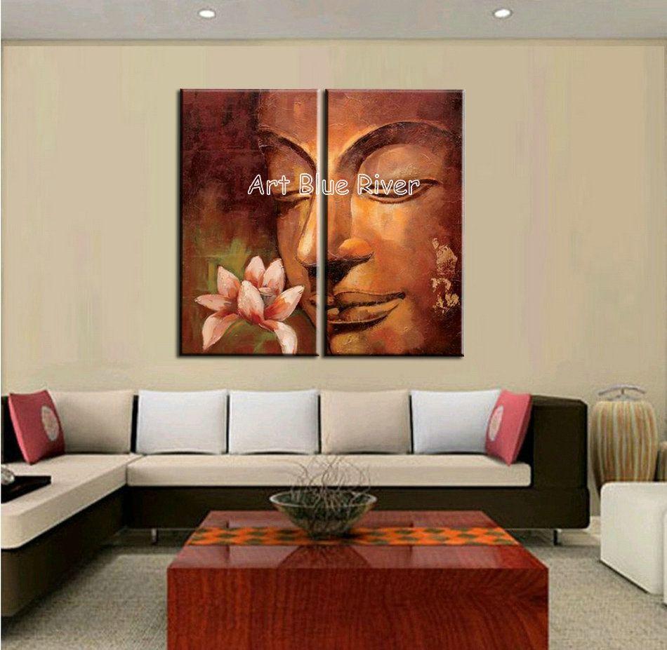 2 Piece Canvas Wall Art 2 piece abstract modern buddha wall art handmade classic canvas