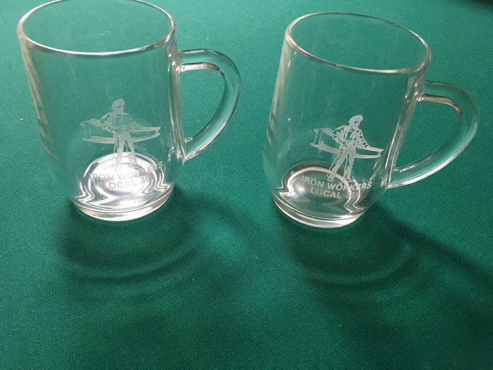 Vintage (1990's) Set of Two (2) IRONWORKERS Local 361 (NY) Glass