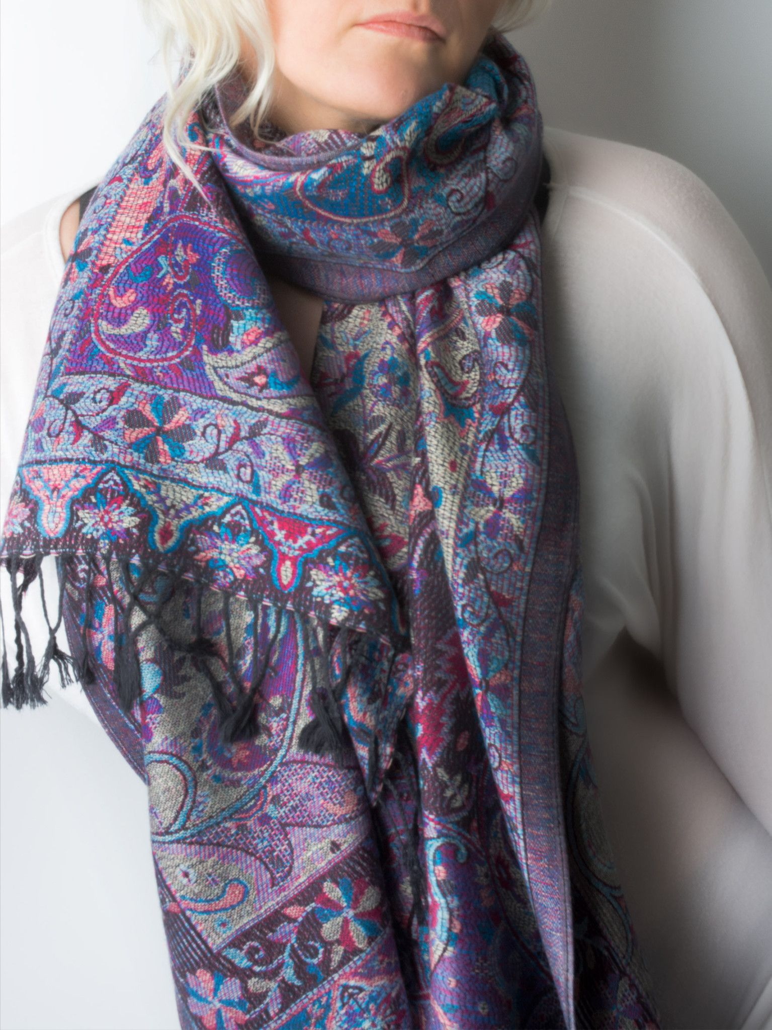 Scarves Ashana Reversible Paisley Pashmina Shawl Hand Made In