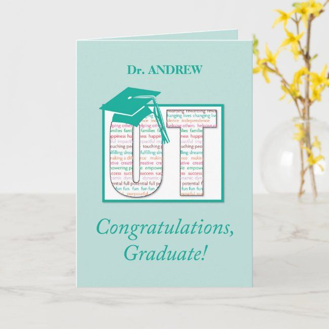 custom name doctor occupational therapy graduate card