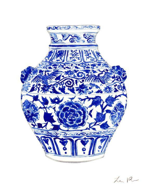 94718a456d61 China Ginger Jar Art Vase 4 Blue and White Chinoiserie Art Chinese Print  Asian Decor Preppy Art Prin