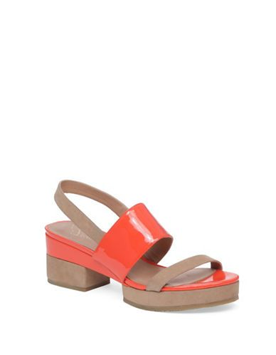 Delman Malia Leather Platform Sandals Women's Orange 7M