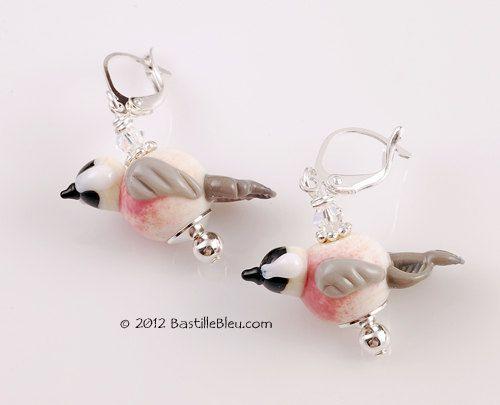 $30  Chickadee Earrings - Handmade lampwork art beads, jewelry & supplies by Bastille Bleu Lampwork. $30.00, via Etsy.