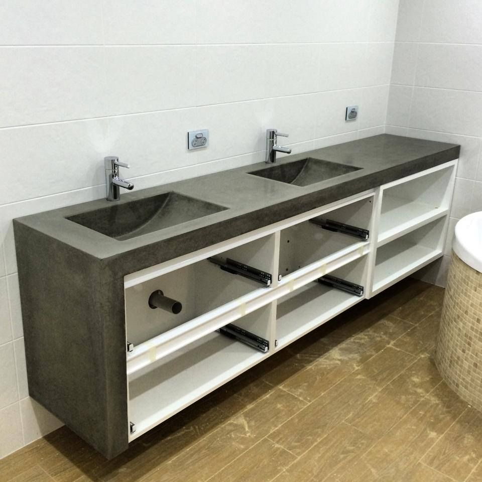 Vanity Tops With Integrated Sink : Polished concrete his and hers vanity top with double