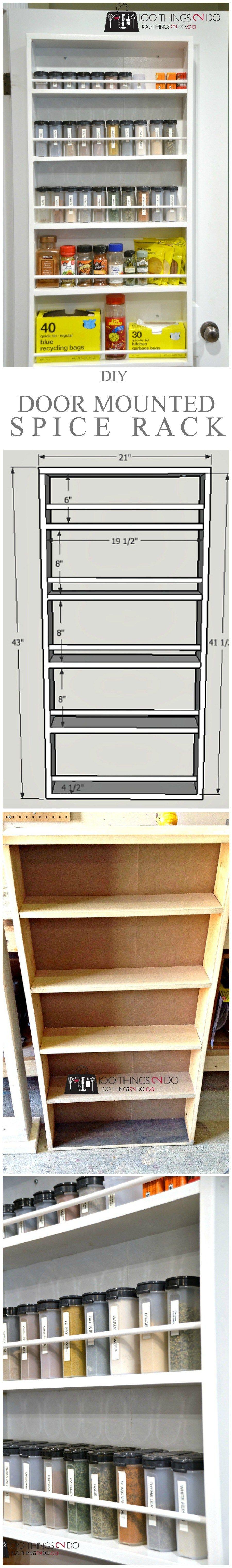 DIY Door Mounted Spice Rack | Regal, Türen und Küche