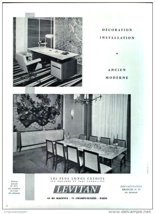 Original Anzeige Publicite 1957 En Francais Meubles Levitan Paris Ca 200 X 270 Mm Mit Bildern Wohnen