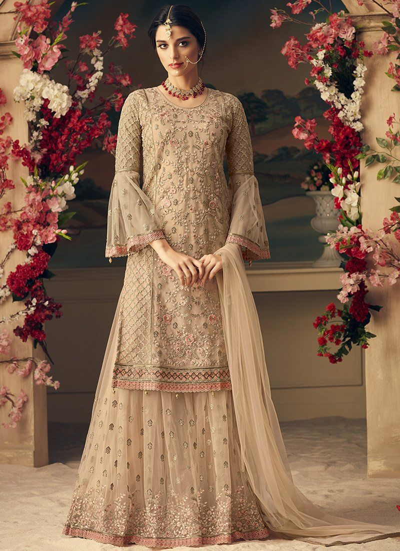 fe0bd03e2f Beige Mohini Net Party Wear Embroidered Sharara Suit. Net top, Net Bottom  with Santoon inner and Net Dupatta. 100% Original Company Product with the  ...
