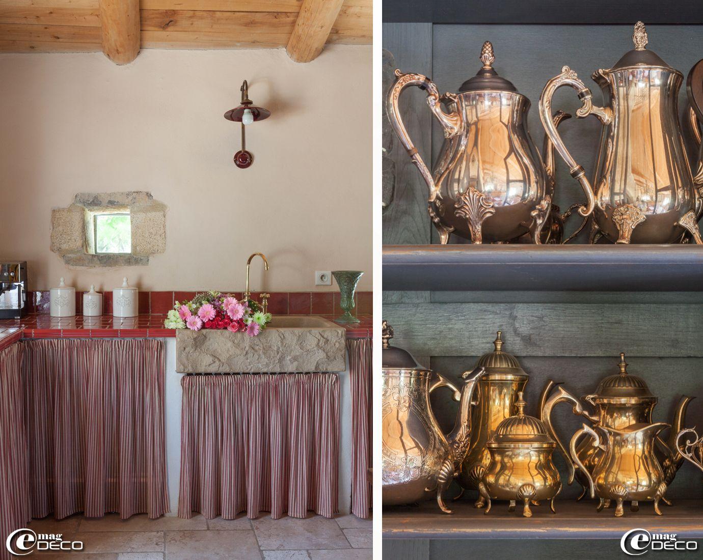 Plan De Travail De Cuisine Maçonné Avec Un évier En Pierre De - Meuble a rideau cuisine pour idees de deco de cuisine