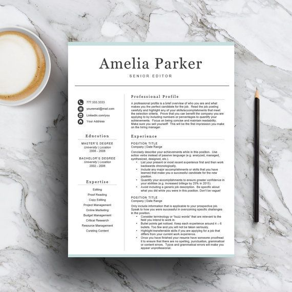 Professional resume template for Word  Pages - includes 1, 2  3