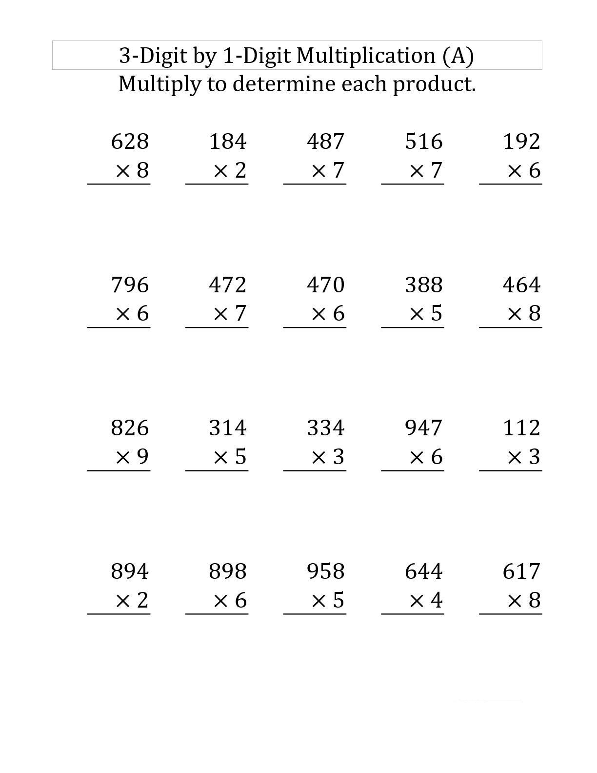4th Grade Multiplication Worksheets 4th grade