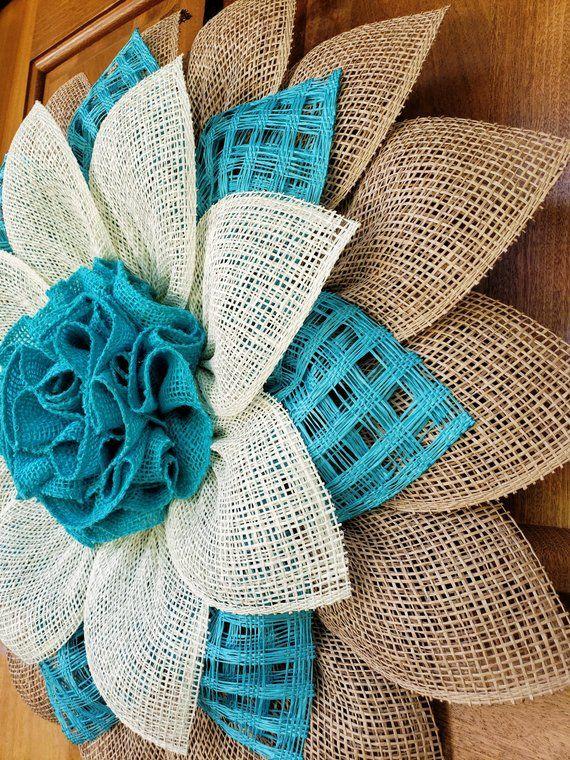Photo of Large Natural, Turquoise and Cream Poly Burlap / Burlap Coastal Cottage Flower Wreath Door Decor (UITC)