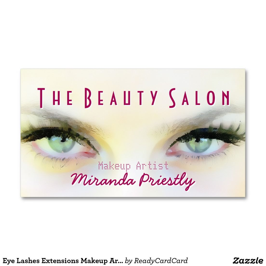 Eye Lashes Extensions Makeup Artist Cosmetologist Business Card ...