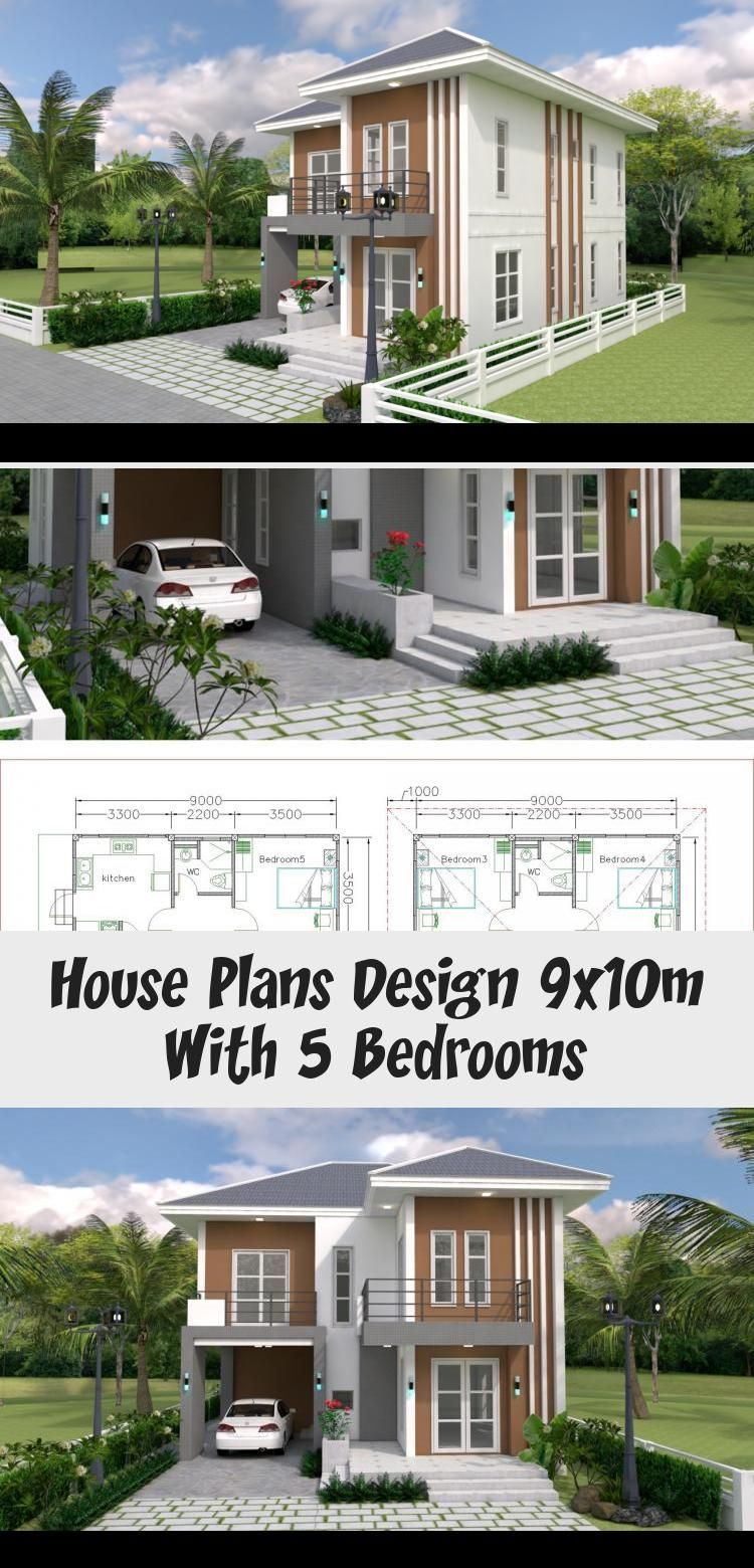 House Plans Design 9x10m With 5 Bedrooms Samphoas Plan Smallhouseplans1500 Cutesmallhouseplans Smallhouseplansop In 2020 House Plans Home Design Plans Plan Design