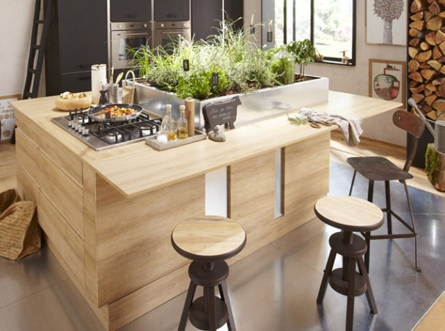 Cuisine avec plan de travail original leroy merlin Idées - Table De Cuisine Avec Plan De Travail