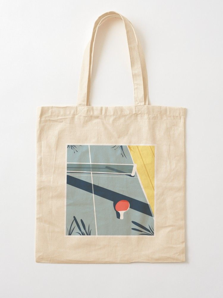 Aesthetic Ping Pong Table Cotton Tote