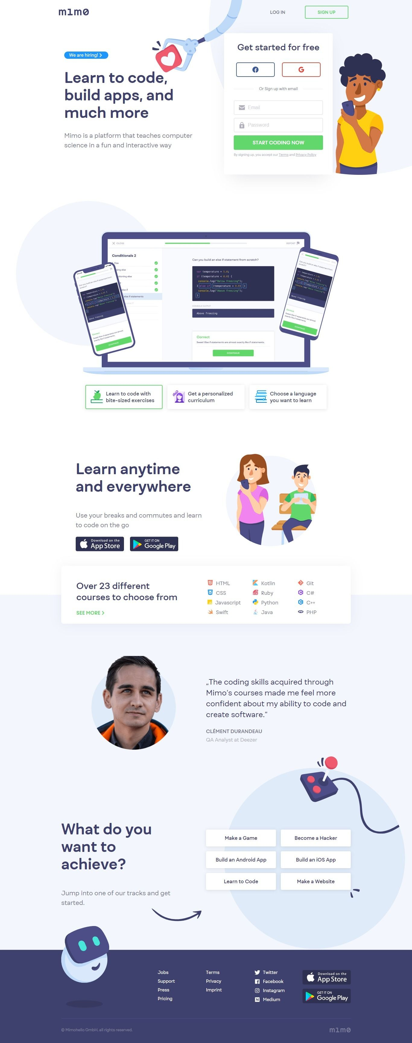 Mimo Uidea Landing page design, Coding software