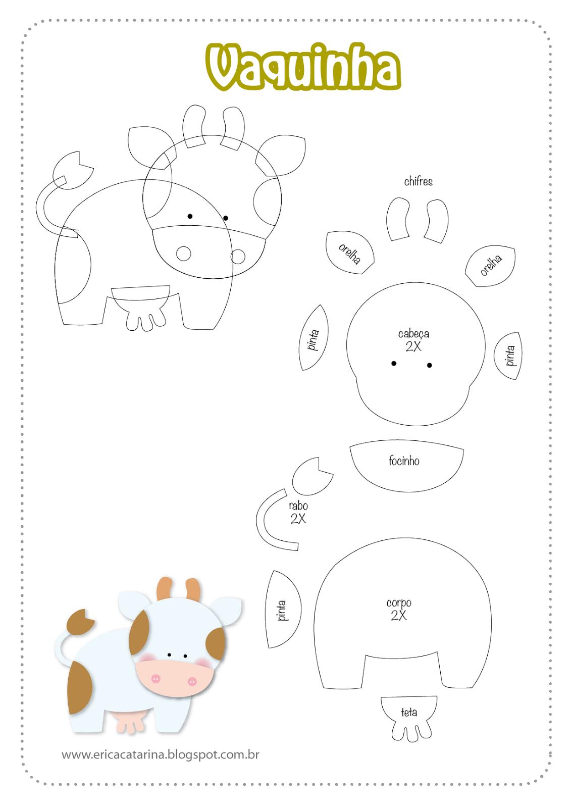 Conhecido Moldes Fazendinha baby para decorações em feltro e EVA  GU75