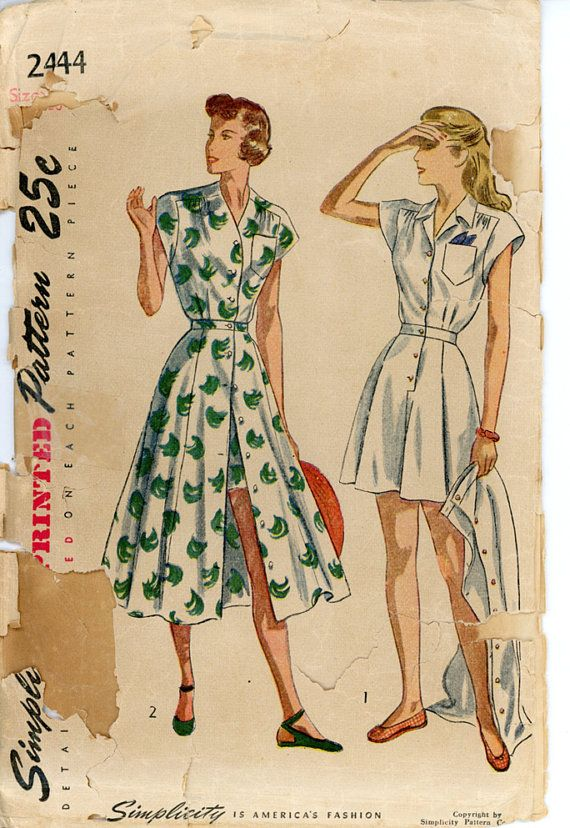 Simplicity 2444 Misses 1940s Playsuit Pattern Cap Sleeve Shirred ...