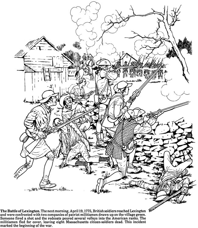 The Battle Of Lexington Coloring Books Coloring Pages Veterans Day Coloring Page