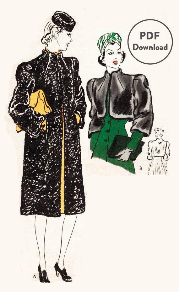 1940s 40s Vintage Sewing Pattern box coat fur bolero jacket bust 34 ...