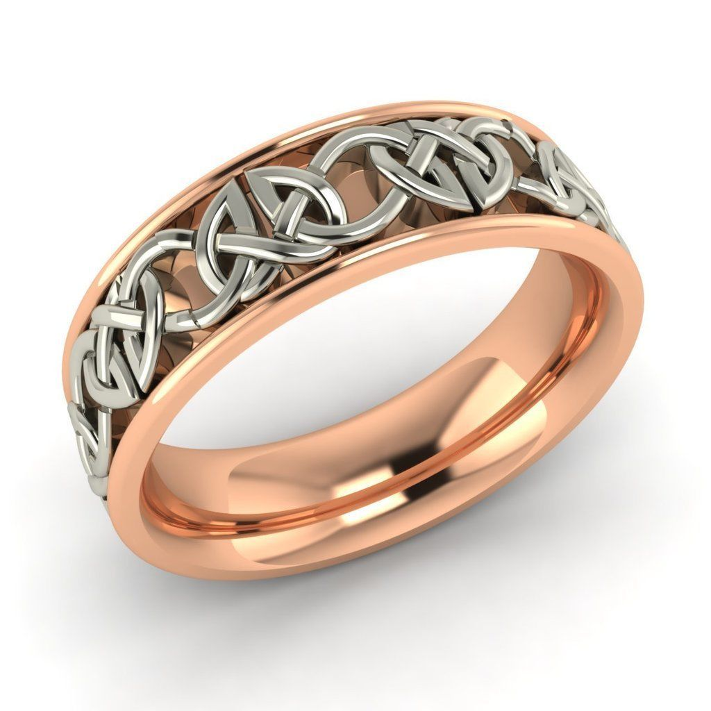 6 mm mens celtic design wedding ring band in two tone