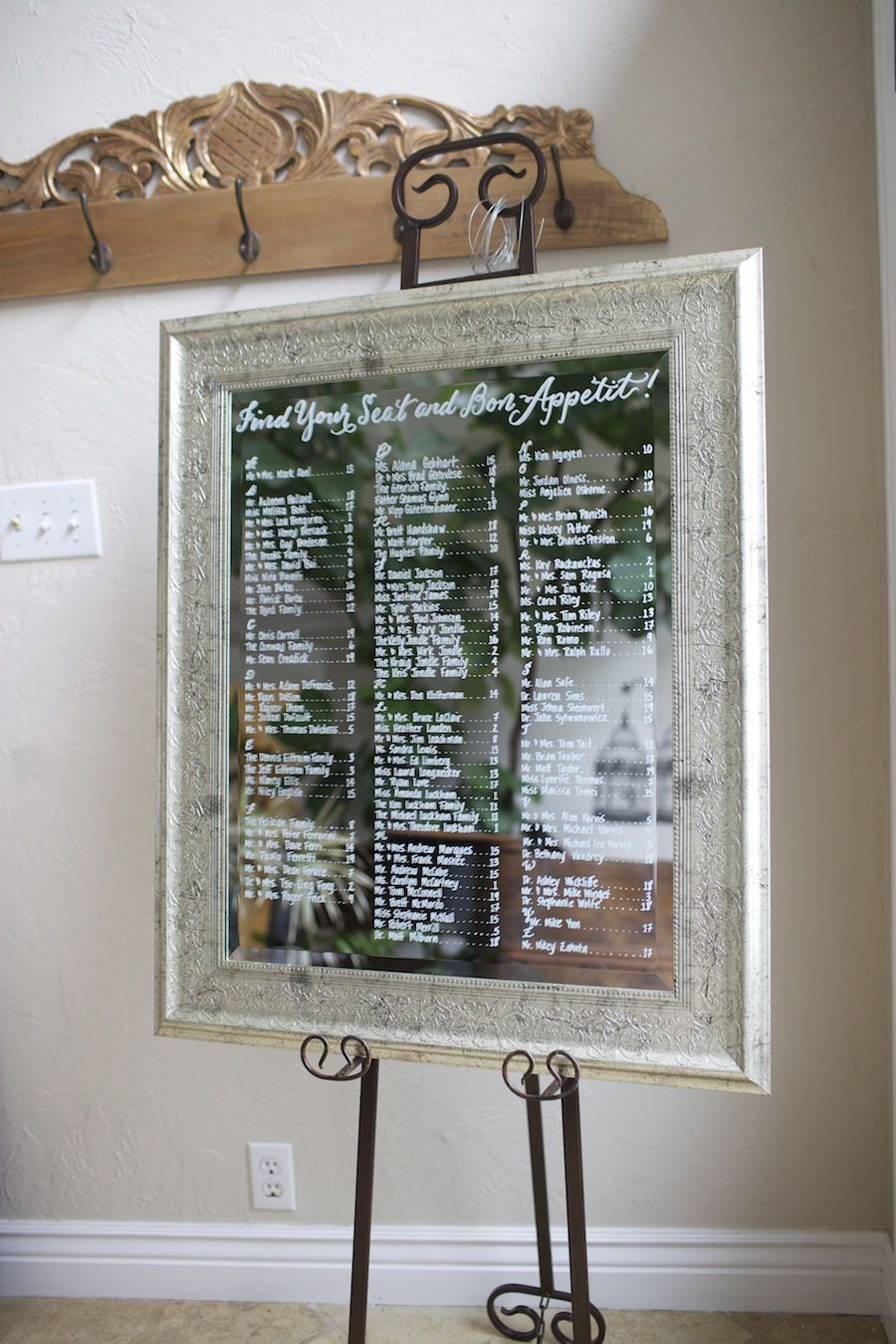 Large Silverleaf Mirror Hand Painted As A Wedding Seating Chart Custom Display Find Your Seat And Bon E
