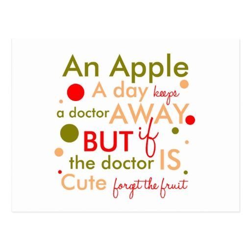 An Apple A Day Keeps Doctor Away Text Postcard Funny Quotes Pillows Thank You Cards