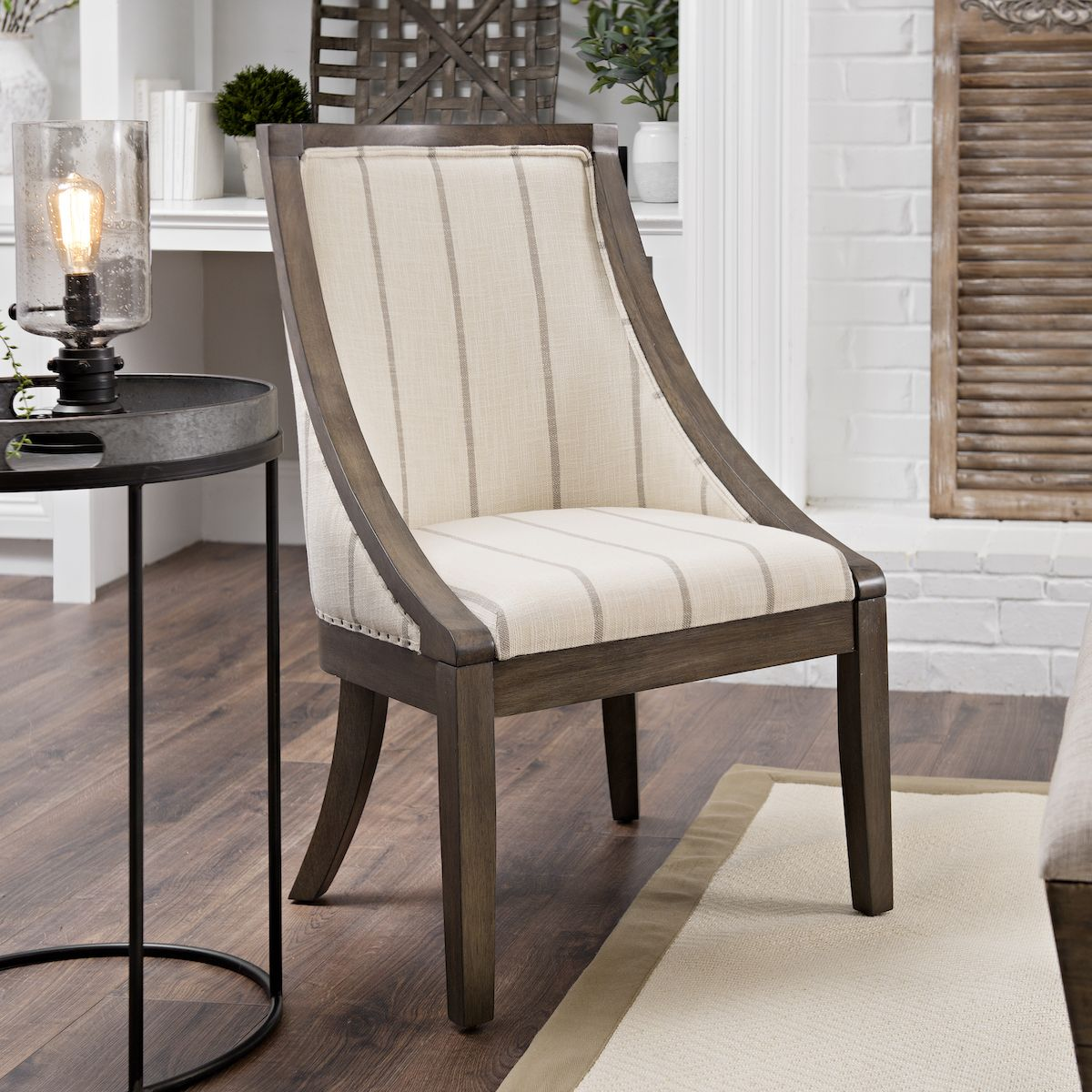 Best Andrea Farmhouse Stripe Accent Chair Luxury Office 640 x 480